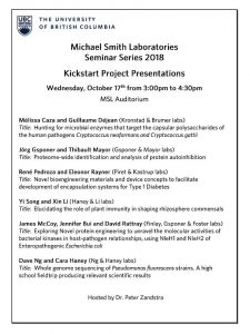 Michael Smith Labs Seminar Series: October 17 at  3pm