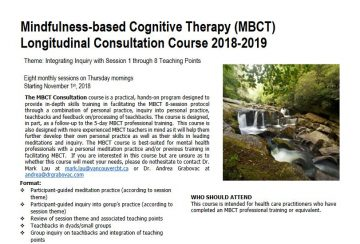 MBCT Longitudinal Consultation Course starting Thursday Nov 1, 2018