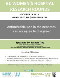 BC Women's Hospital Research Rounds Friday October 19th
