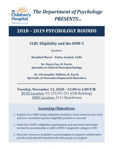 BCCH Psychology Rounds Tuesday November 13th