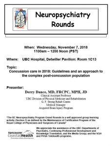 BC Neuropsychiatry Program Grand Rounds Wednesday November 7th