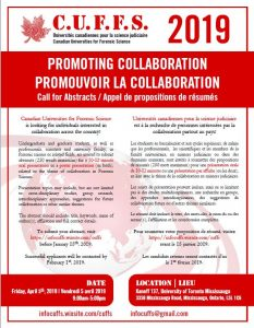 Canadian Universities for Forensic Science conference entitled: Promoting Collaboration!