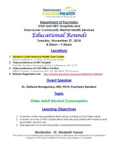 VGH/UBC Psychiatry Educational Rounds – November 27, 2018