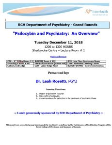 RCH Department of Psychiatry Grand Rounds – Tuesday December 11, 2018