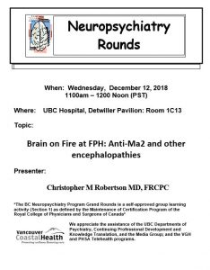 BC Neuropsychiatry Program Grand Rounds Wednesday December 12th