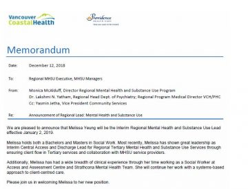 Announcement re: Regional Interim MHSU Lead