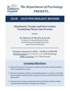 BCCH Psychology Rounds Tuesday January 8th