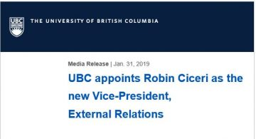 UBC appoints Robin Ciceri as the new Vice-President, External Relations