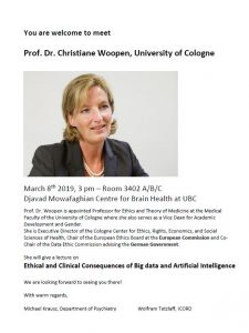 Meeting Dr. Christiane Woopen March 8th 2019 3:00pm