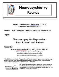 BC Neuropsychiatry Program Grand Rounds Wednesday,  February 27, 2019