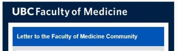 FoM Letter to the Faculty of Medicine Community