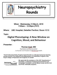 BC Neuropsychiatry Program Grand Rounds Wednesday,  March 13, 2019