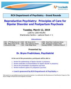 RCH Department of Psychiatry Grand Rounds – Tuesday, March 12, 2019