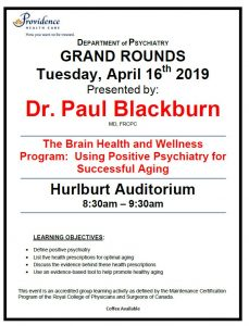 SPH Department of Psychiatry Grand Rounds Tuesday, April 16th 2019