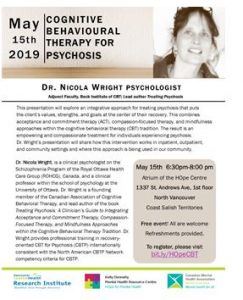 CMHA North and West Vancouver: CBT for Psychosis talk May 15th