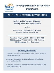 BCCH Psychology Rounds Tuesday May 14th