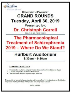 SPH Department of Psychiatry Grand Rounds Tuesday, April 30th 2019