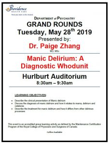 SPH Department of Psychiatry Grand Rounds Tuesday, Many 28th 2019