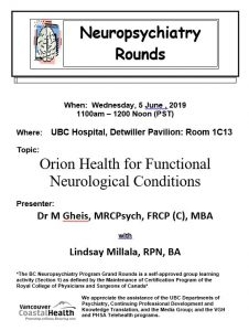 BC Neuropsychiatry Program Grand Rounds Wednesday June 5th