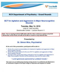 RCH Department of Psychiatry Grand Rounds – Tuesday, May 14