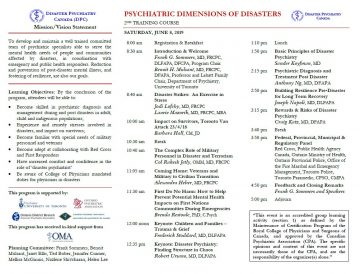 Disaster Psychiatry CME Training – June 8/19