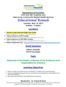 VGH/UBC Psychiatry Educational Rounds – May 14, 2019