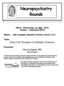 BC Neuropsychiatry Program Grand Rounds Wednesday, May 15th