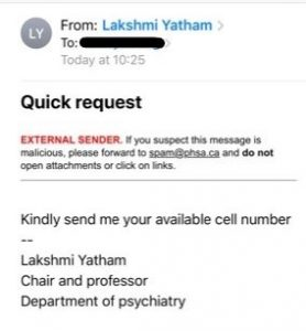 "Fraudulent Emails with Sender Display Name ""Lakshmi Yatham"" – DO NOT RESPOND TO THESE EMAILS!"