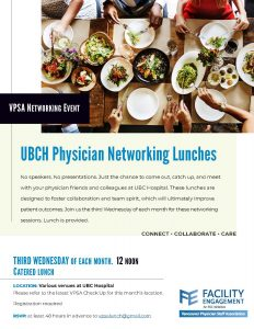 Physician Networking Lunches and Free Coffee on Wednesday for Physicians at UBC Hospital!