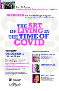 "You Are Invited: Dr. Steven Taylor to Speak with Dr. Bonnie Henry and Dr. Terence Tam on ""The Art of Living in the Time of COVID"" on Oct 1 at 7:00-8:30pm"
