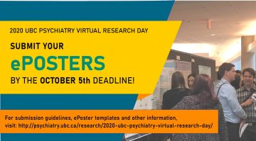 REMINDER: Submit Your ePoster for 2020 UBC Psychiatry Virtual Research Day by Monday October 5th!