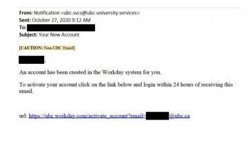 Fraudulent Workday Email – DO NOT OPEN LINKS OR PROVIDE YOUR CREDENTIALS!