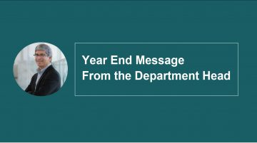 Year End Message from the Department Head