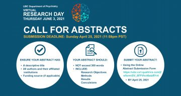 Call for Abstracts for 2021 UBC Psychiatry Virtual Research Day